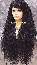 Long Curl Layered Jet Black Full Lace Front Wig Heat Ok Hair Piece #1 NWT