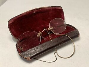 Lovely Small Antique Prince Nez Nose Pinch Spectacles With Ear Chain In Case