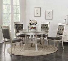 ZANDRA 5PC ROUND METALLIC SILVER FINISH WOOD GLASS TOP LEATHER DINING TABLE SET