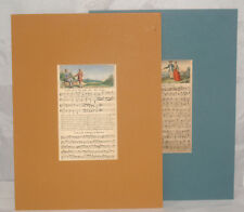 2 ANTIQUE LATE 18TH CENTURY HAND COLORED SHEET MUSIC ENGRAVING PRINT SONG