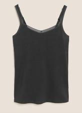 ex-M&S Black Lace Trim Secret Support Camisole Vest Shelf Support UK 10
