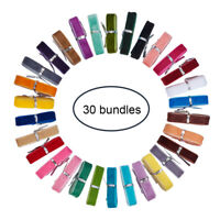 30Bundles Single Face Velvet Ribbons Mixed Color for Craft Gift Package Wrapping