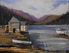 Highland Lago 30.5cmX22.9cm Impresionista Pintura Al Óleo de Terry P Wylde