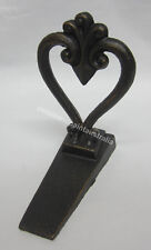 French Provincial Cast Metal Brown Heart Decorative Door Stop, Stopper, Wedge