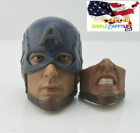 1/6 Captain America Head Sculpt w/ 2 face expression For Hot Toys Phicen ❶USA❶