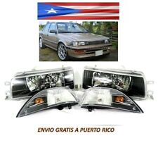 For 88 92 Toyota Corolla Headlight Black Housing AE92 93 94 E90 EE90 1988 1992