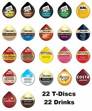 22 TASSIMO T-DISC VARIETY TASTER STARTER PACK: COFFEE, CHOC and amp; TEA PODS