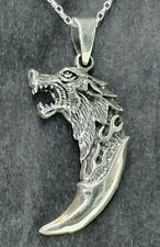 Sterling Silver 925 Oxidised Wolf Claw Viking Nordic Pendant Necklace Chain!
