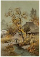 A Vintage Signed Japanese Export Landscape Watercolor Painting