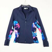 Athleta Super Impose Hope Jacket 2 Women's Small Navy Blue Floral Full Zip