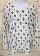 Faded Glory Ivory Black Printed Long Sleeve Knit Top Shirt Tee Size M  NWT