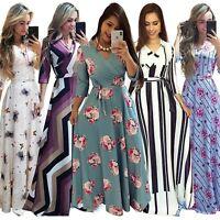 Plus Size Women's V-Neck Printing Dress Bodycon Beach Ball Gown Maxi Dresses