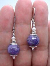 Lovely Purple Chaorite W. White FWP Sterling Silver Earrings A0629