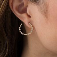 1/3cttw Diamond Alternating Art Deco Circle Hoop Earrings in 10K Yellow Gold