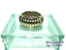 Vintage Style Awesome Gold Carved Plastic Lucite Clamp Bangle Bracelet