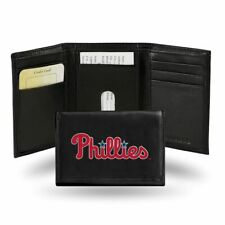 Philadelphia Phillies MLB Embroidered Team Logo Black Leather Trifold Wallet