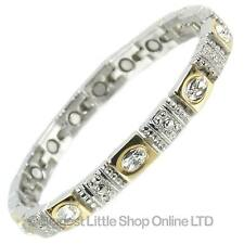 NEW Ladies Magnetic Bracelet with Faux Pretty Clear Crystals Gift Magnets Health