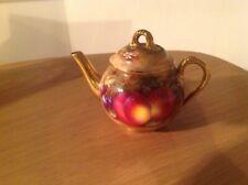 Royal Worcester Fine Porcelain British Made Teapot With Fruit Design
