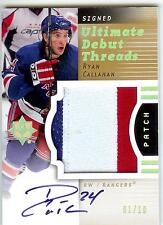 2007-08 ULTIMATE RYAN CALLAHAN AUTO 3 COLOR PATCH  1/10 RC ROOKIE 1/1