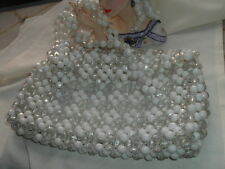 VINTAGE CARVED WHITE LUCITE AND CELLULOID BEADED PURSE HANDBAG, HAND MADE