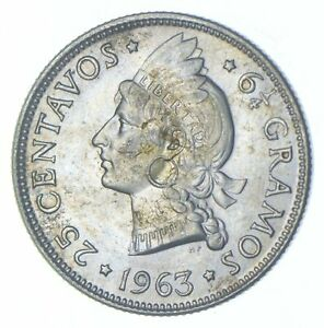 Better - 1963 Dominican Republic 25 Centavos - TC *070