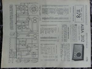 Alba 3112 3 Band AC DC Super Het Table Receiver radio Service manual