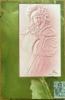 Art Nouveau 1907 Heavily-Embossed Postcard: Woman w/Fur Muff on Green Marble