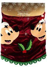 "Disney Parks Santa Mickey Minnie Holiday Holly Christmas Tree Skirt 48"" - NEW"