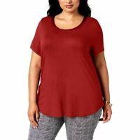 Alfani Womens Ladies Classic Rust Red Satin-Trim High-Low T-Shirt Top Plus 3X
