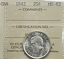 1942 Canada 25 cents ICCS graded MS-62