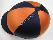 Navy Blue & Arancione Equitazione Cappello seta Copertura per casco da fantino TAPPI Taglia Unica
