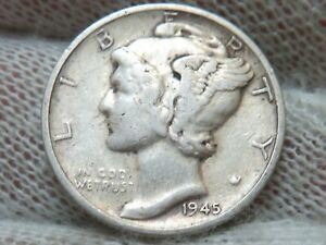 1945 S MICRO S 90% Silver Mercury Dime and free shipping