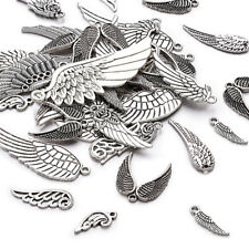 100 g Antique Silver Tibetan Alloy Wing Pendants 24~56x9~21x1~2mm about 30~35pcs