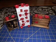 Vintage Dollhouse Miniatures Accessories Lot Cast Iron Fridge ++