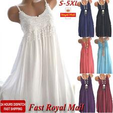 Womens Sleeveless Maxi Dress Ladies Summer Beach A-Line Dress Sundress Size 8-26