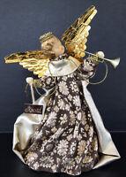"""Vintage Koestel Wax Angel Christmas Tree Topper 7"""" West Germany Gold Brown"""