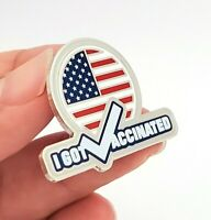 Vaccinated Pin - I Got Vaccinated with American Flag Silver