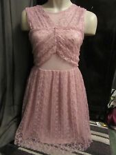BNWT £45 UK 10 River Island Dress Pink Floral Lace Net Mesh Panel Tight Pleated