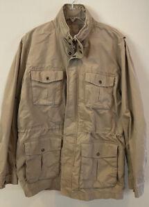 LL Bean Safari Mens Large Hunting Field Utility Khaki Cotton Jacket Hidden Hood