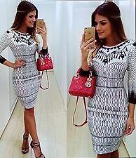 Elegant ladies black and white 3/4 sleeve dress size 14