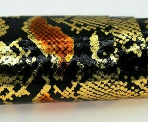 CLEARANCE SALE Python Print-on Snake Skin Hide Leather Snakeskin Gold/Orange