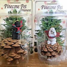 Poodle Christmas Ornament Lot of 2 White Black Dog Pinecone Ornaments New