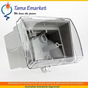 Weatherproof Box Enclosure Mounting Lock Clear Weather proof GPO Switch Socket