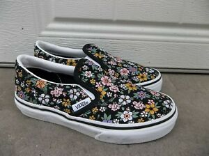 NWT VANS GIRLS/YOUTH SLIP ON (FUN FLORAL) SNEAKERS/SHOES SIZE 13.NEW FOR 2021.