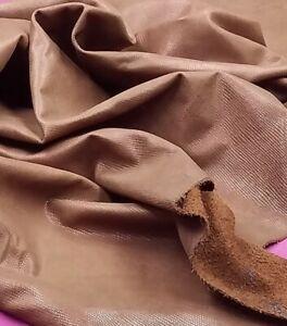 Brown Lizard Emboss Calf Leather Hide Crafts Binding Handbag Upholstery Wallet