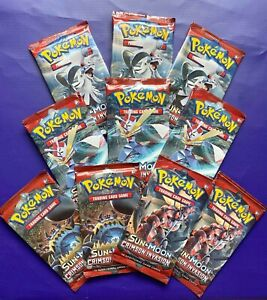 10 SM CRIMSON INVASION Booster Pack Lot - Factory Sealed From Box Pokemon Cards