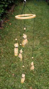 Windspiel Katzen Holz Mobile Deko Katze Holzwindspiel Ringmobile Katzenwindspiel