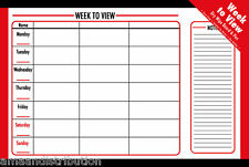 DRY WIPE WEEKLY WEEK TO VIEW PLANNER NOTICE MEMO NOTES WHITE BOARD 60 X 40CM