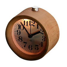 Antique Circular Wood Alarm Clock Non Ticking Backlight Desk Wooden Clock