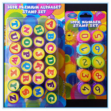 Kids Number & Alphabet Stamps Capital Letters Set Ink Stamp Children Craft Art D